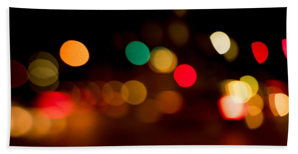 Out Of Focus Beach Towel featuring the photograph Traffic Lights Number 11 by Steve Gadomski