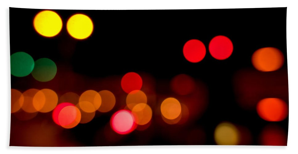 Out Of Focus Beach Towel featuring the photograph Traffic Lights Number 12 by Steve Gadomski