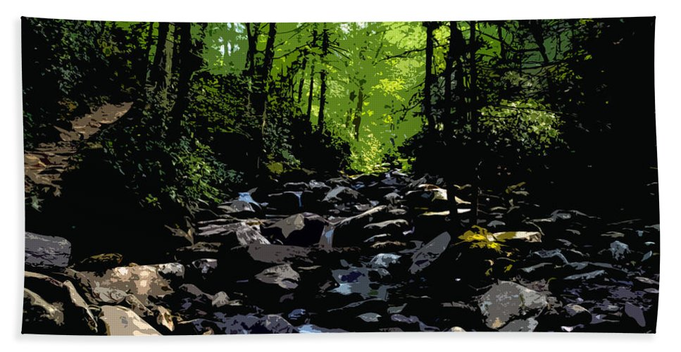 Trail Beach Towel featuring the painting Trail To Chimney Top by David Lee Thompson