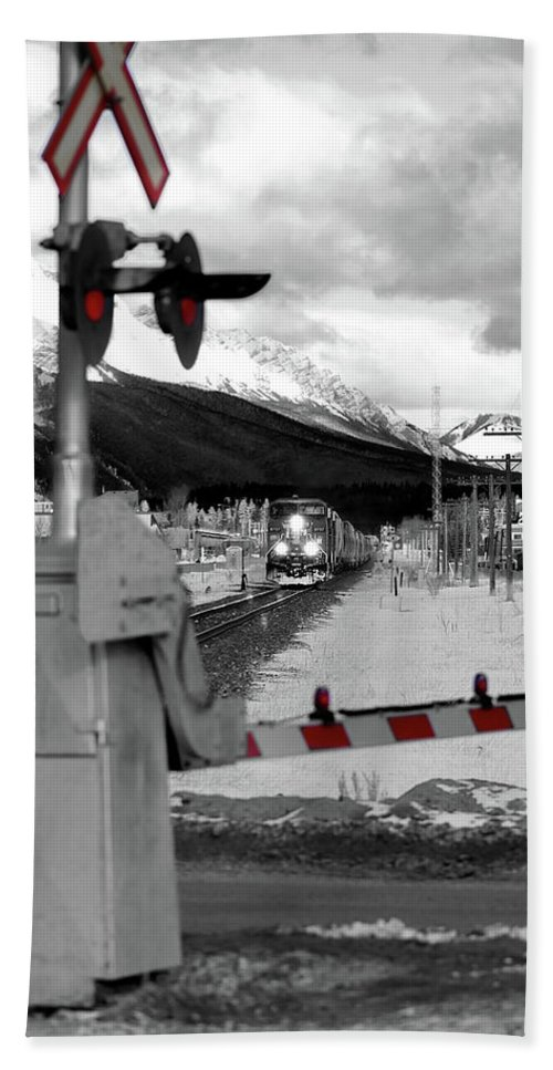 Canmore Beach Towel featuring the photograph Train A Comin by Lisa Knechtel