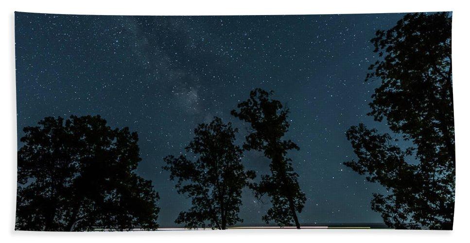 Milky Way Beach Towel featuring the photograph Train On Tulip Trestle by Robert Wrenn
