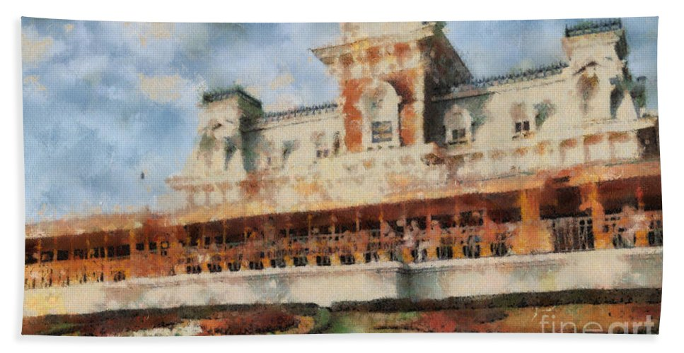 Florida Beach Towel featuring the painting Train Station At Magic Kingdom by Paulette B Wright