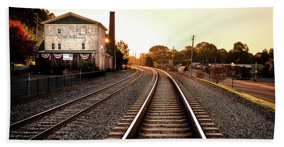 Train. Sun Beach Towel featuring the photograph Sunrise At The Old Mill by Anthony Blackwood