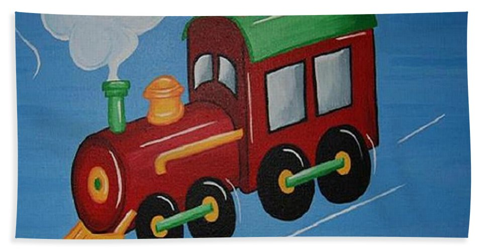 Train Beach Towel featuring the painting Train by Valerie Carpenter