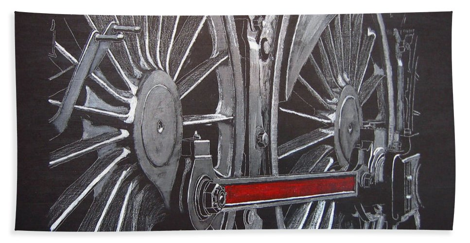 Trains Beach Towel featuring the painting Train Wheels 1 by Richard Le Page