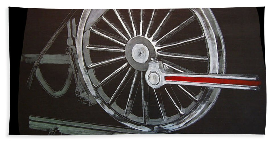 Trains Beach Towel featuring the painting Train Wheels 2 by Richard Le Page