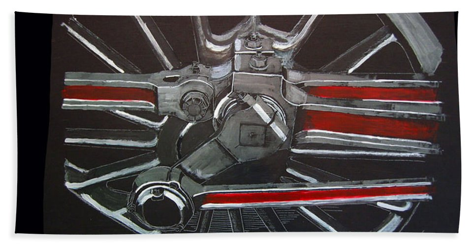 Trains Beach Towel featuring the painting Train Wheels 3 by Richard Le Page