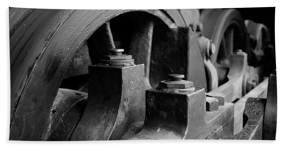 Black And White Beach Towel featuring the photograph Trainwheels by Jeff Greene