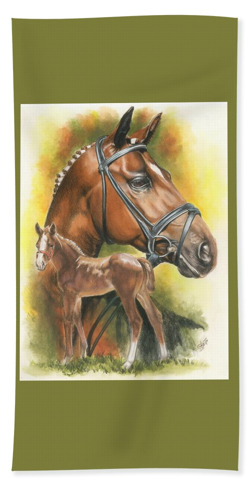 Jumper Hunter Beach Sheet featuring the mixed media Trakehner by Barbara Keith