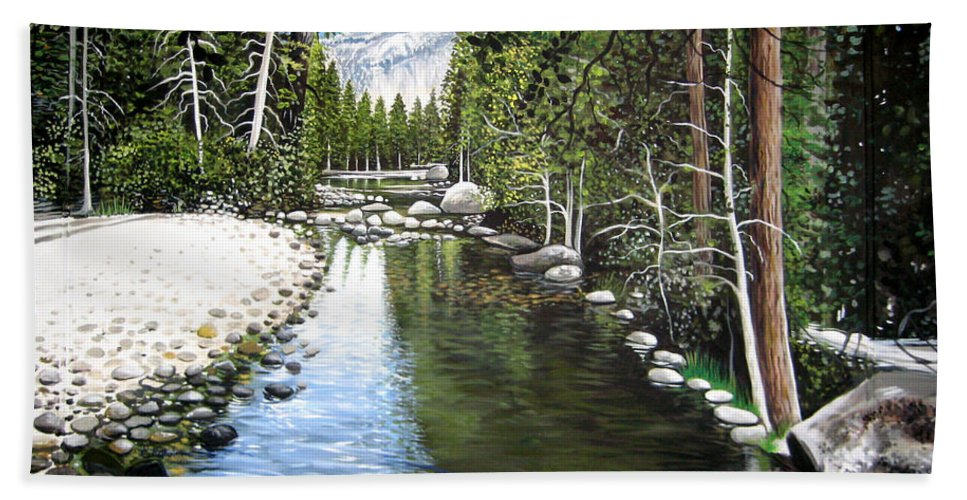 Trees Beach Towel featuring the painting Tranquil Forest by Elizabeth Robinette Tyndall
