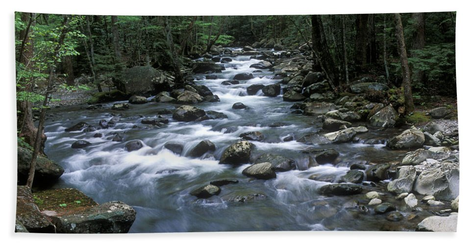 Great Smoky Mountains Beach Towel featuring the photograph Tranquil Moments On Little Pigeon Creek by Sandra Bronstein