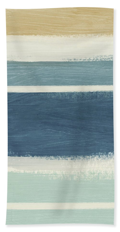 Stripes Beach Towel featuring the painting Tranquil Stripes- Art By Linda Woods by Linda Woods
