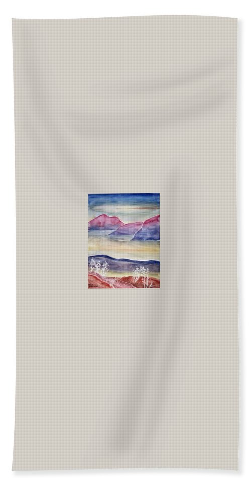 Watercolor Beach Towel featuring the painting Tranquility 2 Mountain Modern Surreal Painting Print by Derek Mccrea