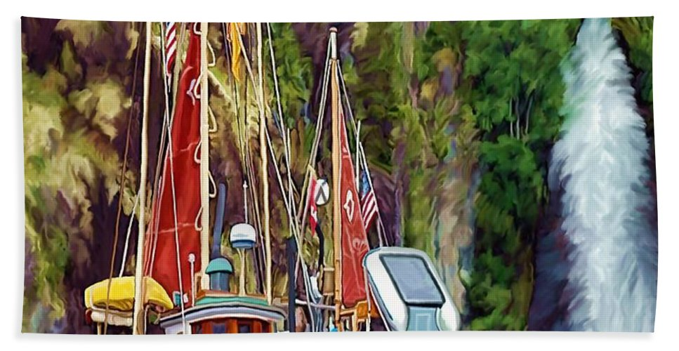 Boats Beach Towel featuring the painting Tranquility by David Wagner