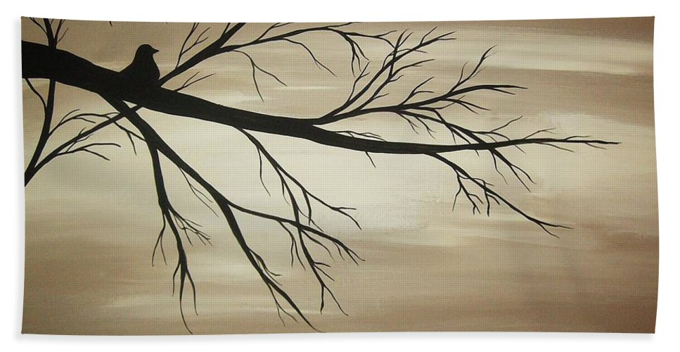 Tan Beach Towel featuring the painting Tranquility by Katie Slaby