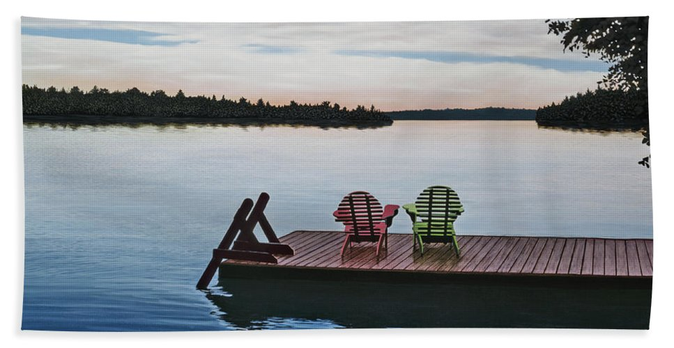 Landscapes Paintings Beach Towel featuring the painting Tranquility by Kenneth M Kirsch