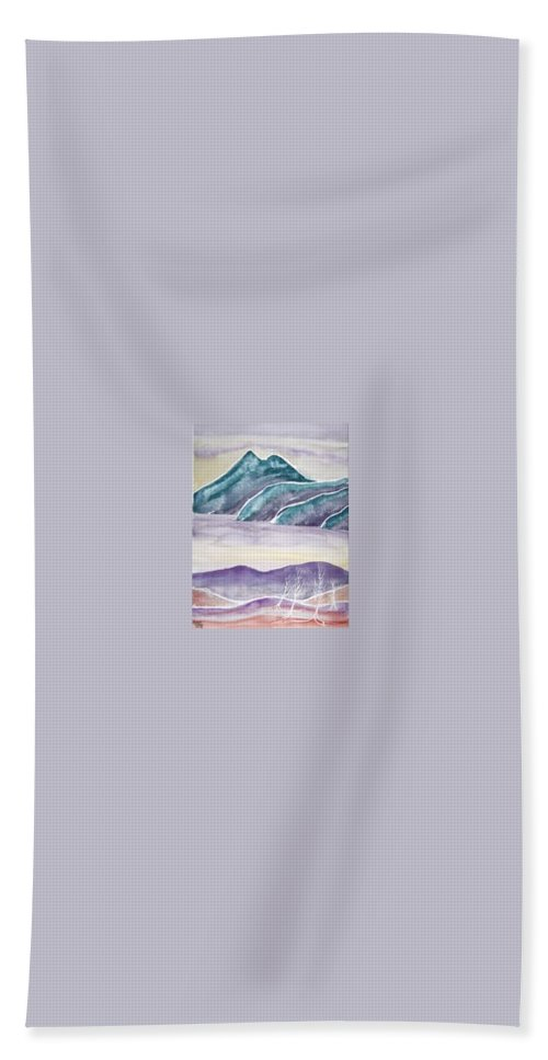 Watercolor Beach Towel featuring the painting Tranquility Landscape Mountain Surreal Modern Fine Art Print by Derek Mccrea