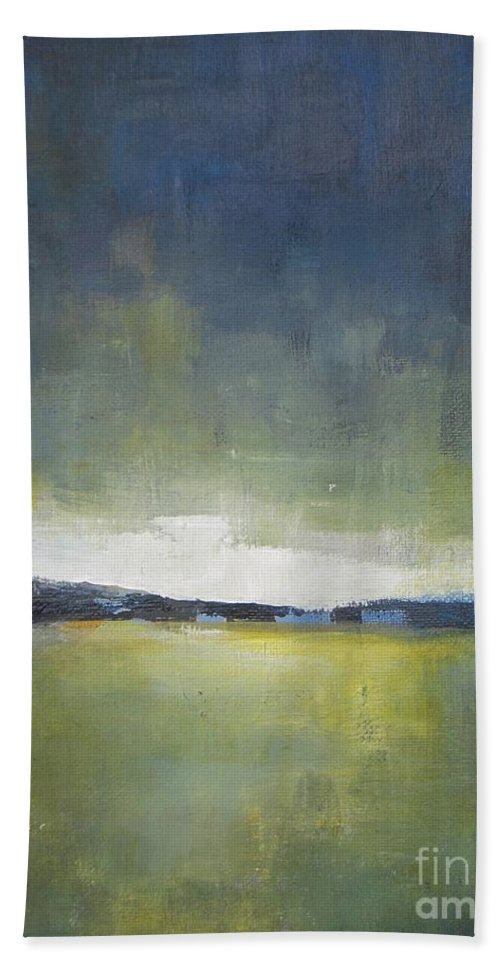 Landscape Beach Towel featuring the painting Tranquility Of The Sunset by Vesna Antic