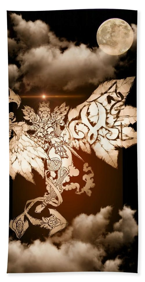 Fantasy Landscape Beach Towel featuring the drawing Transcending Angel by Louis Williams
