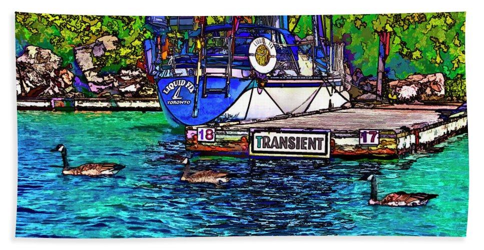 Yacht Beach Towel featuring the photograph Transients Cartoon by Steve Harrington