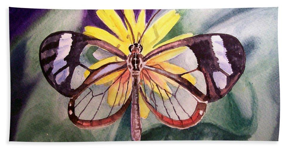 Transparent Beach Towel featuring the painting Transparent Butterfly by Irina Sztukowski