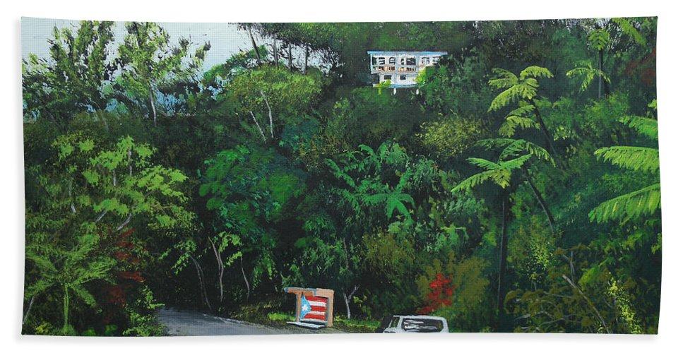 Adjuntas Beach Towel featuring the painting Traveling In Adjuntas Mountains by Luis F Rodriguez