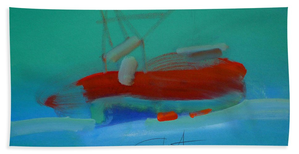 Fishing Boat Beach Towel featuring the painting Trawler by Charles Stuart