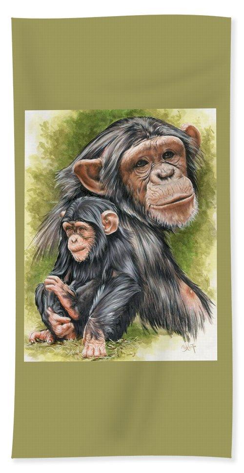 Chimpanzee Beach Sheet featuring the mixed media Treasure by Barbara Keith