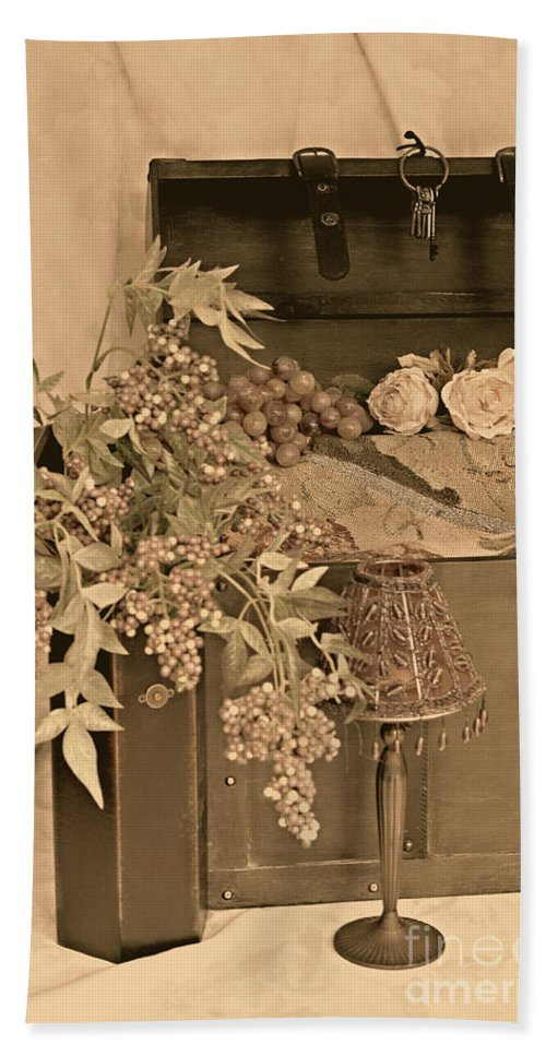 Still Life Beach Towel featuring the photograph Treasure Chest Full Of Memories No.1 by Sherry Hallemeier
