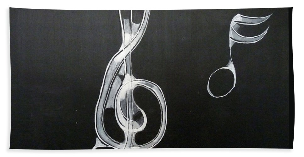 Treble Clef Beach Towel featuring the painting Treble Clef by Richard Le Page