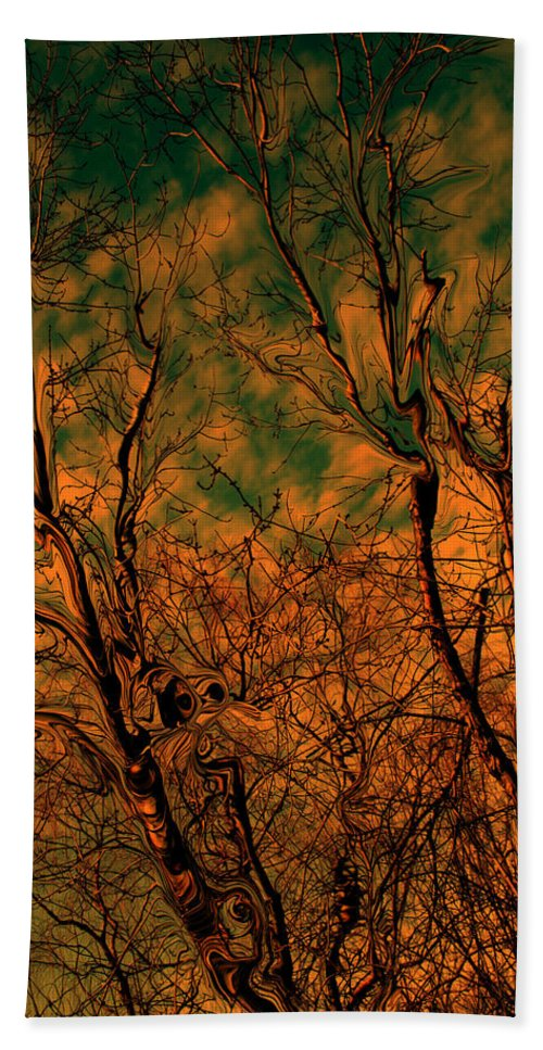 Trees Beach Towel featuring the photograph Tree Abstract by Linda Sannuti
