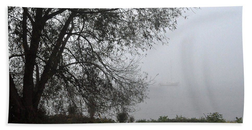 Fog Beach Towel featuring the photograph Tree And Moored Boat by Tim Nyberg