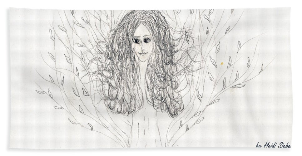 Tree Beauty Beach Towel featuring the drawing Tree Beauty by Heidi Sieber