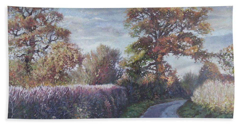 Trees Beach Towel featuring the painting Tree Lined Countryside Road by Martin Davey
