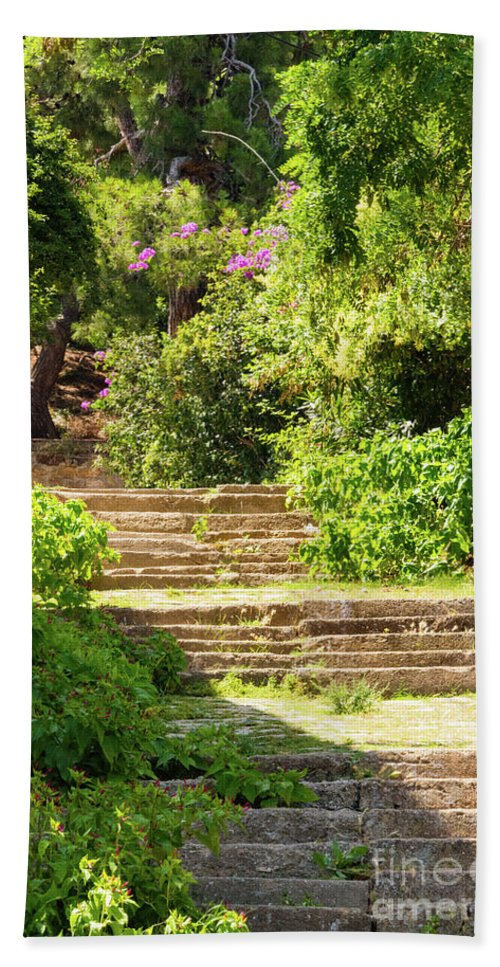 Burgazada Island Beach Towel featuring the photograph Tree Lined Steps by Bob Phillips