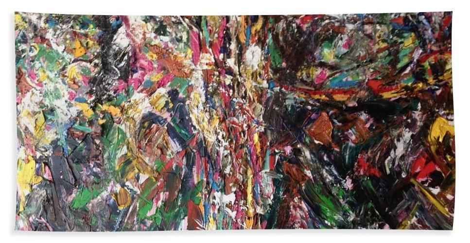 Contemporary Art Beach Towel featuring the painting Tree Of Life by Bart Van Der Schueren