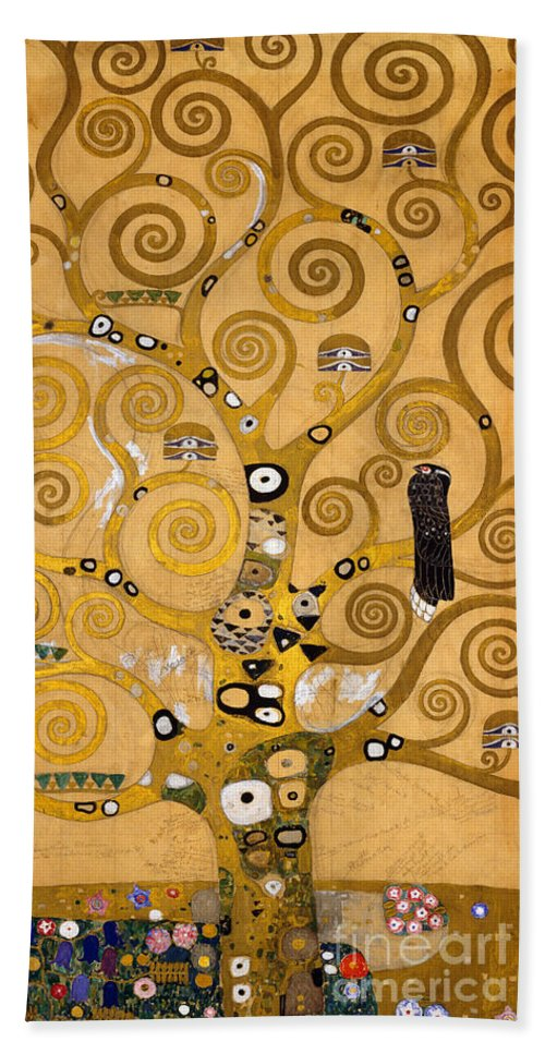 Klimt Beach Sheet featuring the painting Tree Of Life by Gustav Klimt