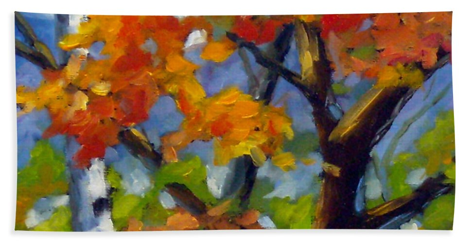 Art For Sale Beach Towel featuring the painting Tree Tops by Richard T Pranke