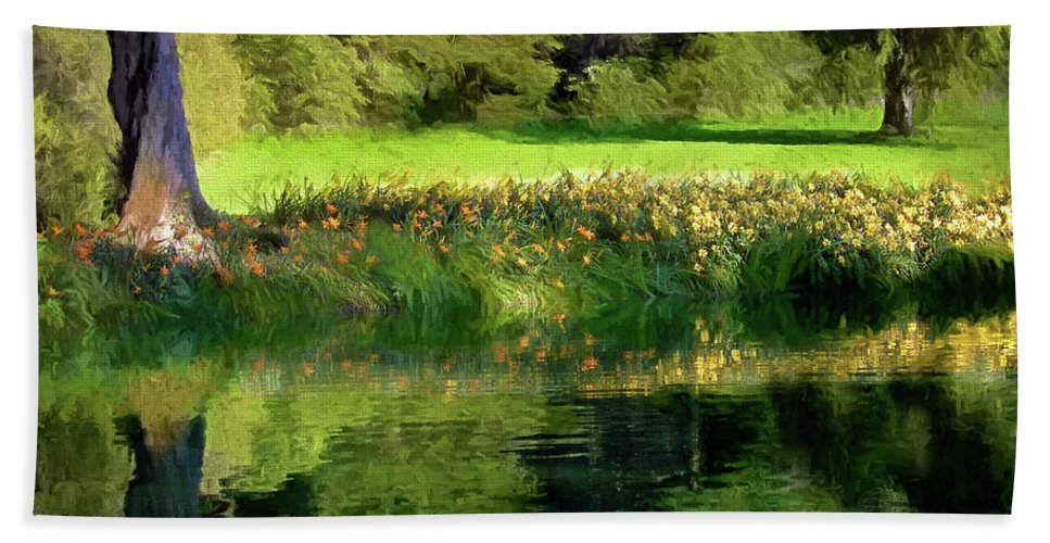 Bellingrath Gardens Beach Towel featuring the photograph Tree With Lily Reflections by Mike Nellums