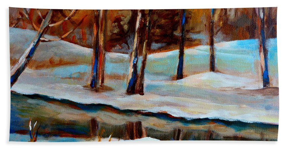 Trees At Rivers Edge Beach Towel featuring the painting Trees At The Rivers Edge by Carole Spandau