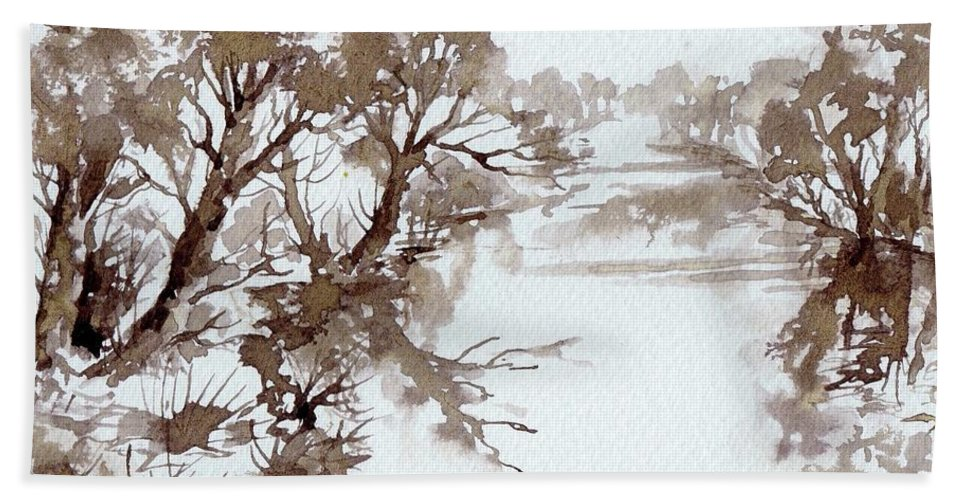Trees Beach Towel featuring the painting Trees By A River by Angelina Whittaker Cook