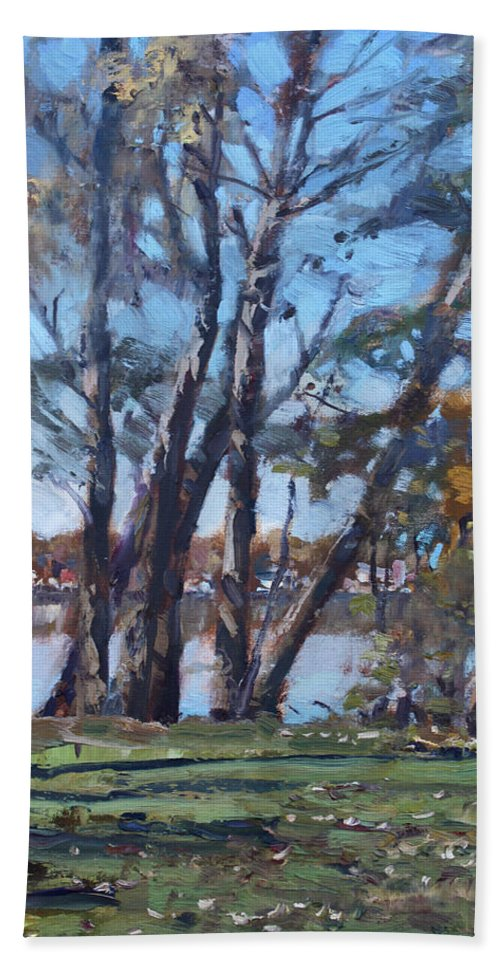 Trees Beach Towel featuring the painting Trees By The River by Ylli Haruni
