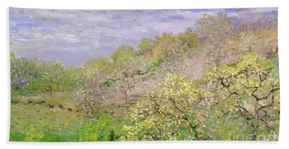 Impressionist; Landscape; Blossom Beach Towel featuring the painting Trees In Blossom by Claude Monet