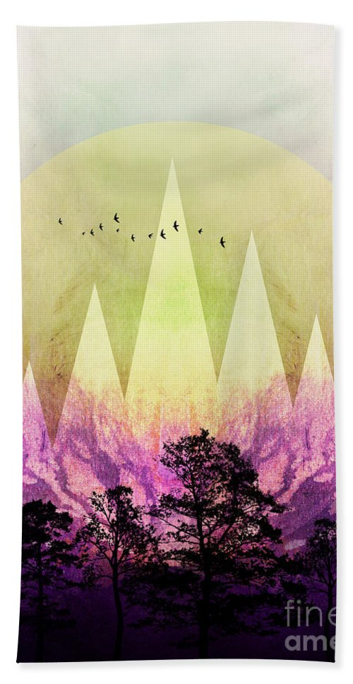 Art Beach Towel featuring the digital art Trees Under Magic Mountains IIi by PIA Schneider