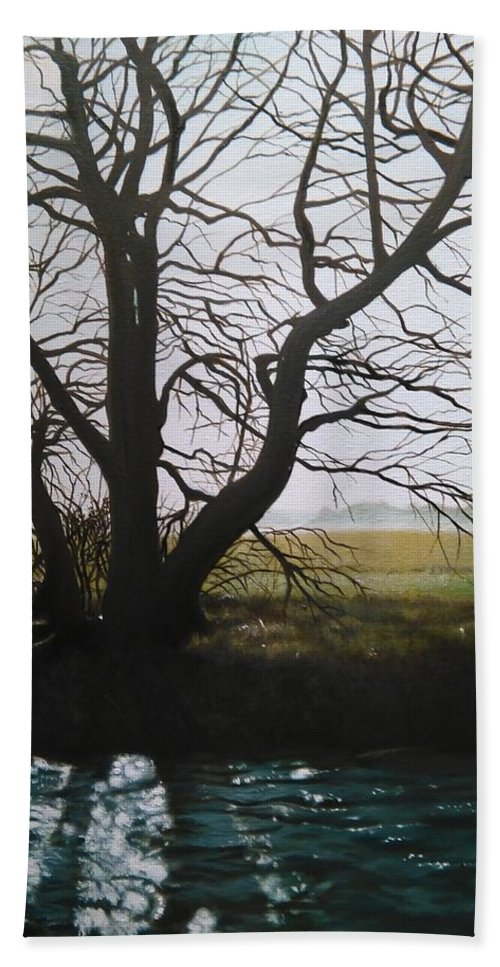 Tree Beach Towel featuring the painting Trent Side Tree. by Caroline Philp