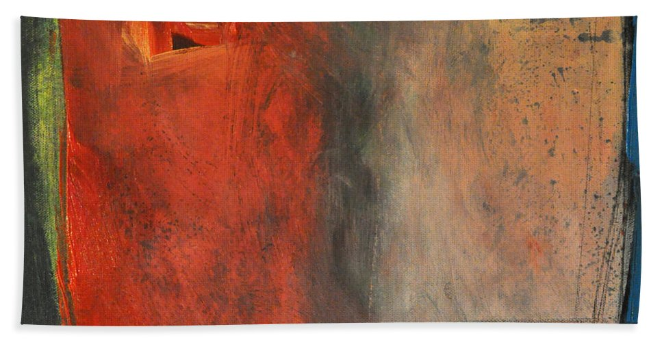 Abstract Beach Towel featuring the painting Trepidation by Tim Nyberg