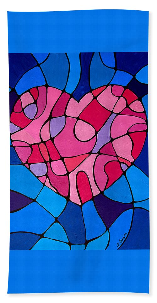 Heart Beach Towel featuring the painting Treu Love by Sharon Cummings