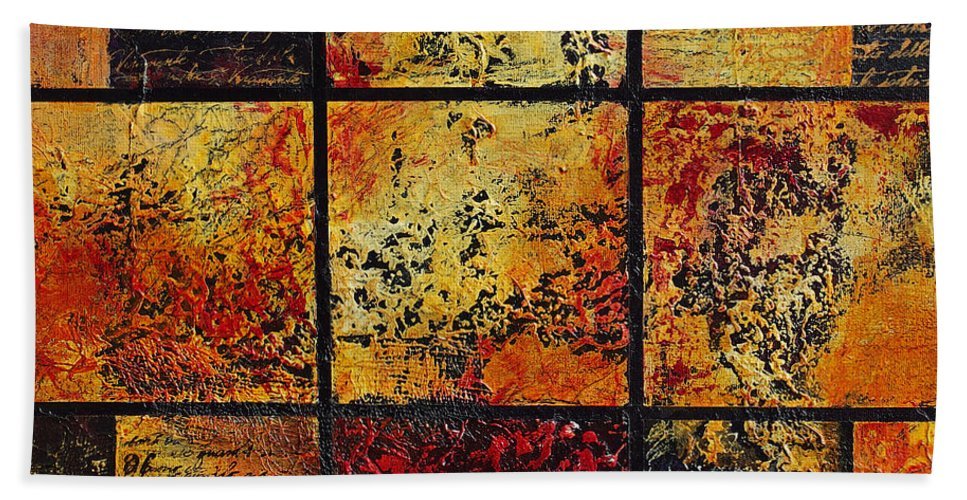 Abstract Beach Towel featuring the painting Trial By Fire by Cindy Johnston