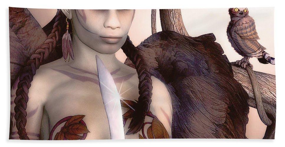 3d Beach Towel featuring the digital art Tribal Elf by Jutta Maria Pusl