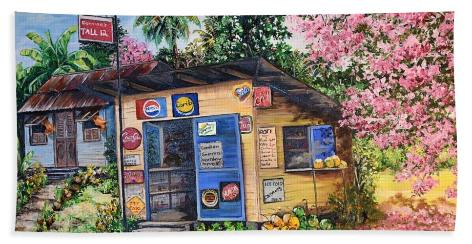 Trinidad And Tobago Shop Beach Towel featuring the painting Trinidad Country Parlour by Karin Dawn Kelshall- Best